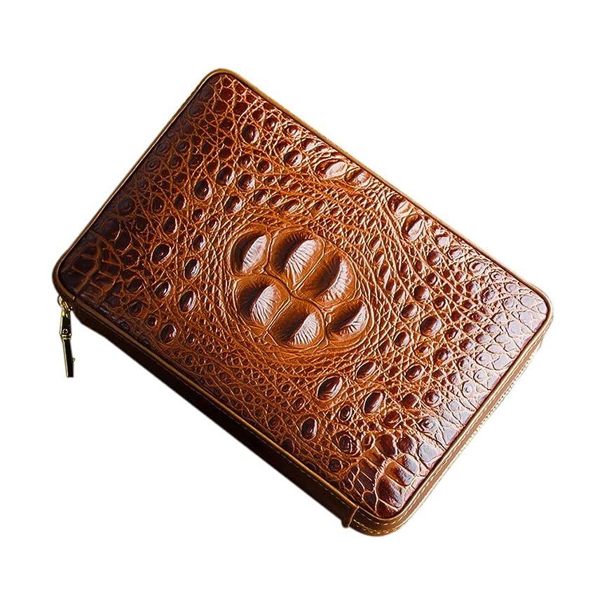 不愉快にゴム警戒葉巻ヒュミドール シガーボックス、シガーはさみ、メンズギフト用の箱、任意色の 革旅行携帯用シガレットケースが並ぶ4シガーの杉の木を収容することができます ギフトに最適 (Color : Brown)