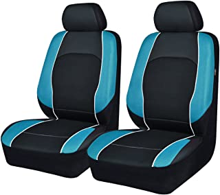NEW ARRIVAL -Car Seat Covers Black Blue For Men Boy Universal Fit Cars Trucks Suvs VANS Two Front Faux Leather Airbag Compatible (black with waterblue)