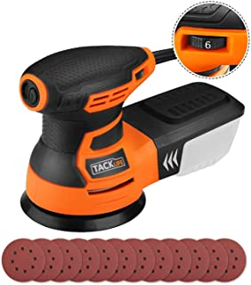 TACKLIFE Orbital Sander 5-Inch with 12Pcs Sanding Discs, Variable Speed Random Orbit Sander for DIY - PRS01A