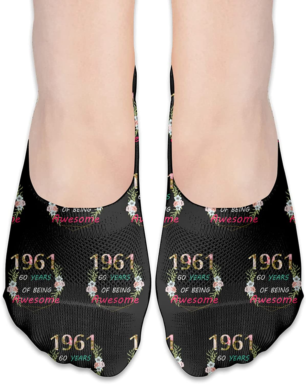 80th Bday Party 1961 - 60th Women'S Birthday Gift No Show Socks Adult Short Socks Athletic Casual Crew Socks