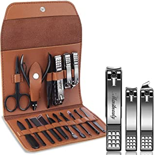 Manibeauty Manicure Kit,16 in 1 Black Nail Clippers Set for Fingernail Toenail Care, Pedicure Manicure Nail Trimmer Set with Brown Leather Case