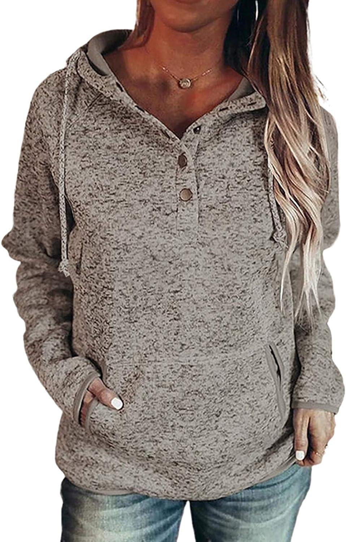Sidefeel Womens 1/4 Button Down Long Sleeve Drawstring Hoodies Sweatshirt