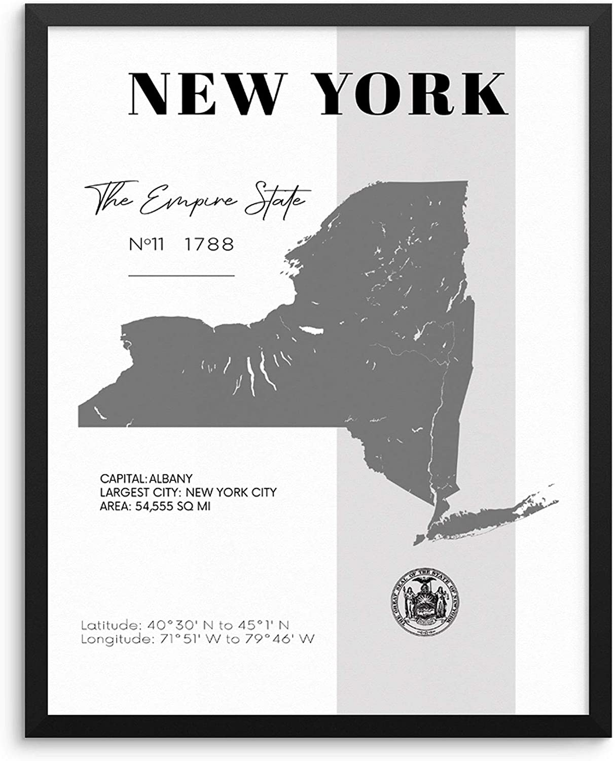 New York State Map Poster With Demographics Minimalist Home Decor Travel  Art Print 20x20 UNFRAMED Trendy Artwork for Bedroom Living Room Entryway ...
