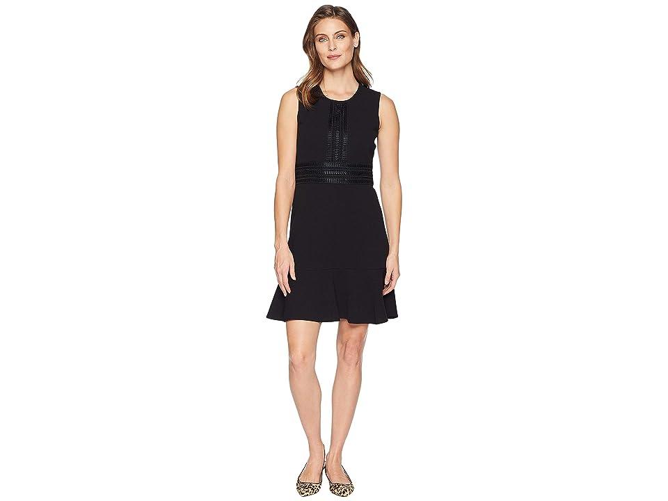 London Times Sleeveless Fit Flare Dress w/ Lace (Black) Women