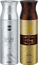 Ajmal Evoke & Wisal Dhahab Deodorant Spray For Men 200ml each (Pack of 2, 400ml) + 2 Parfum Testers Free