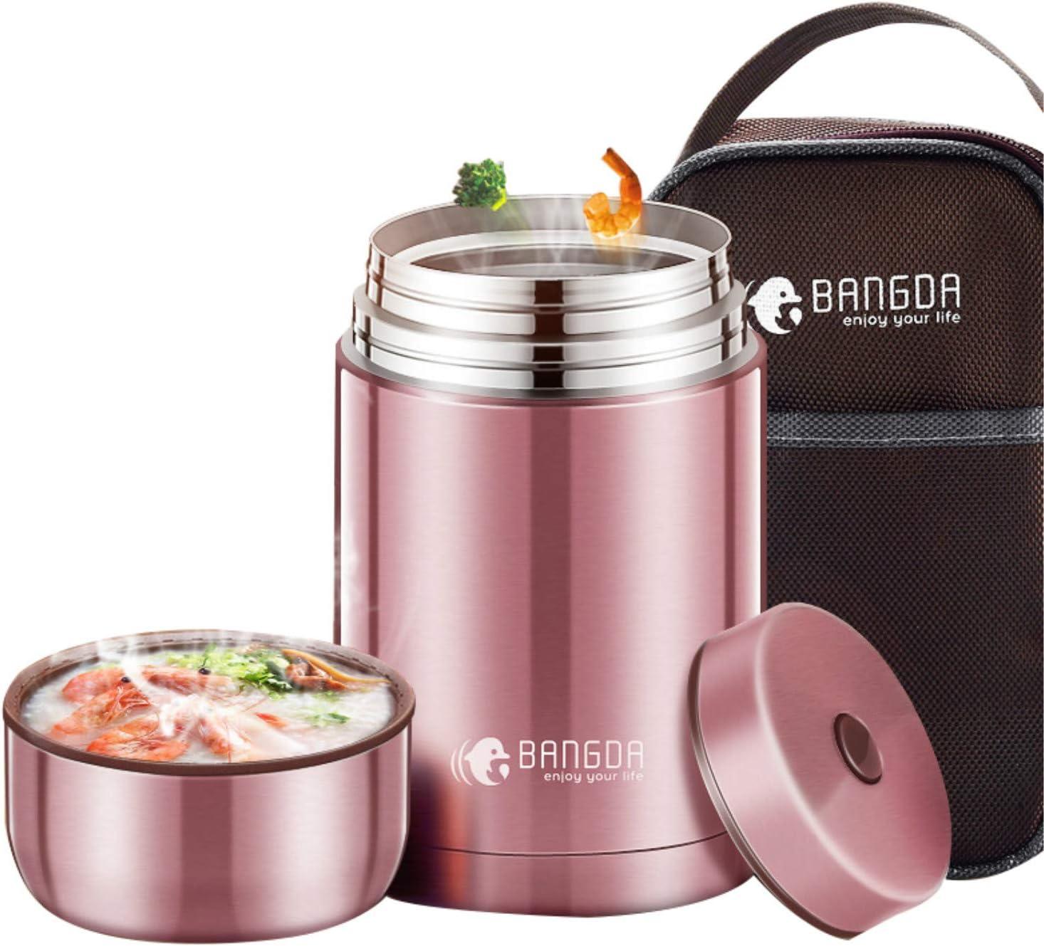 Frasco para alimentos con aislamiento al vacío, termo de acero inoxidable Recipientes para tazas para estofado Fiambrera - Manténgase caliente durante 12 horas (Rosa) (800ml)