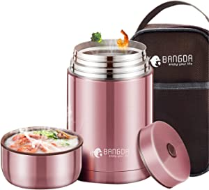 Pink Insulated Food Jar, 34oz Stainless Steel Thermos Food Jar Stew Cup Containers Lunch Box for Kids and Adult - Keep Warm for 12 Hours (1000ml)