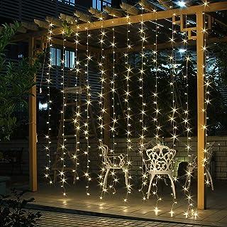 Salcar Cortina de luces LED, 6 * 3m LED cadena, impermeable 600 LED tira para sala de estar, jardín, terraza, fondo de TV, patio, etc. - Blanco cálido