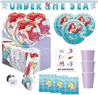 The Little Mermaid Ariel Birthday Party Supplies Pack - Serves 16 - Banner Decoration, Tablecover, Plates, Cups, Napkins, Tattoos, Button