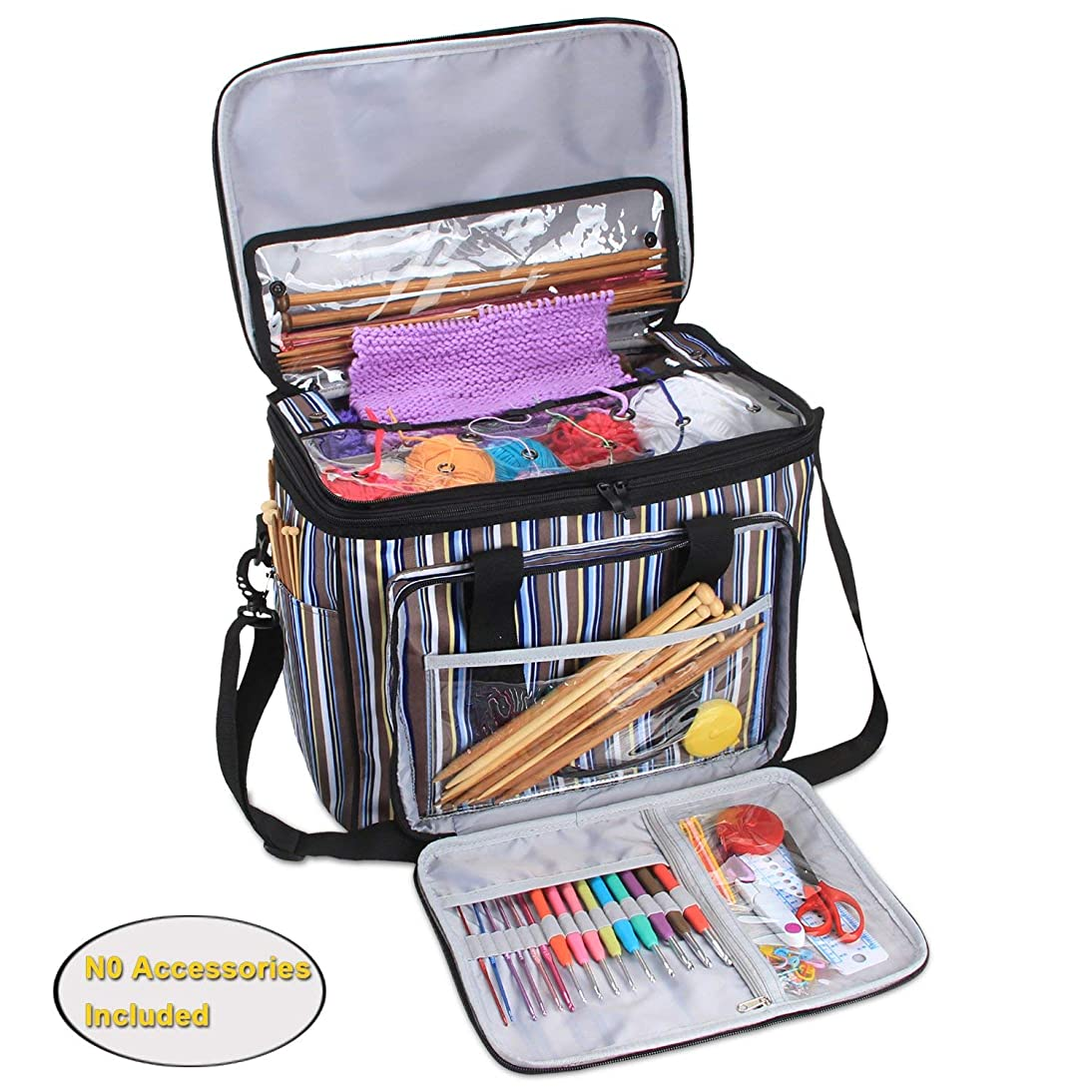 Teamoy Yarn Storage Bag, Knitting Tote Bag Organizer for Crochet Hooks and Supplies, Portable Knitting Yarn Storage Bag with Cover and Inner Divider, Stripes(No Accessories Included)