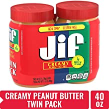 Jif Creamy Peanut Butter, 40 oz., 2 Count – 7g (7% DV) of Protein per Serving, Smooth, Creamy Texture – No Stir Peanut Butter