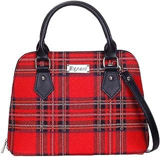 Red Royal Stewart Tartan Top-Handle Shoulder Bag by Signare/Women's Scotish Plaid Side/Conv-RSTT