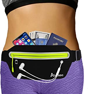 AIKENDO Slim Running Belt Fanny Pack,Fitness Workout Exercise Waist Bag Pack for iPhone X XR 7 8 Plus,Ultra Light Runners Belt Travel Money Belt for Men Women