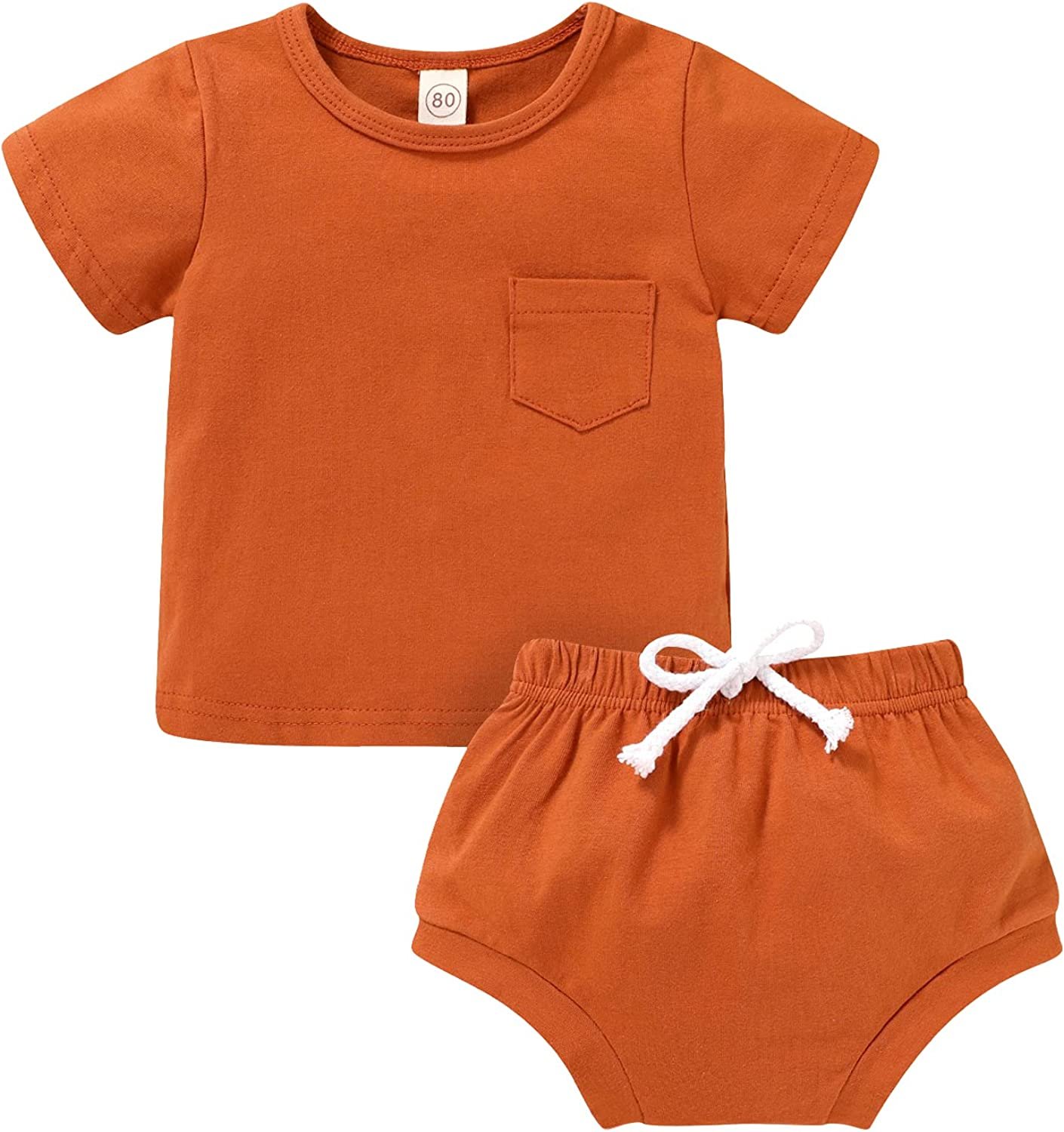 Newborn Baby Boy Clothes Set Cotton Outfits Unisex Toddler Summer Short Sleeve Tops and Shorts