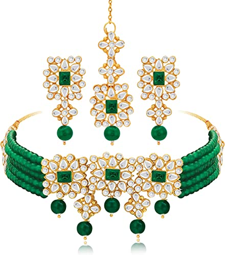 Gold Plated Indian Traditional Ethnic Kundan Green Faux Pearl Choker Necklace Earrings Maang Tikka Jewellery Set For Women Girls Bridal