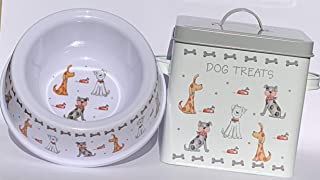 NORTHBYT Treat Container & Bowl - Sturdy Metal pet Food Container & Heavy Duty Non Slip Food Bowl for Medium & Small Dogs ...
