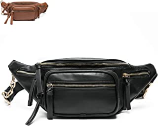 Fanny Pack by Miss Fong, Leather Fanny Packs For Women, Belt Bag,Wasit Bag, Bum bag, Travel Fanny Pack With 9 Pockets (Black)