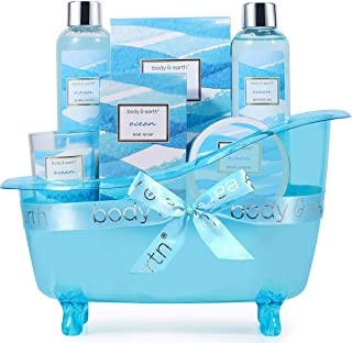Bath Gift Set for Women,Body & Earth Home Spa Kit Scented with Ocean,Bath and Body Gift Basket Set,Spa Gifts for Women,7 P...
