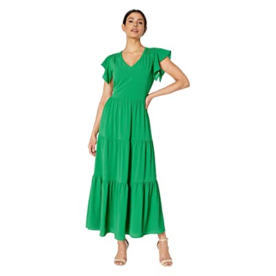eci Flutter Sleeve V-Neck Fit and Flare Maxi Dress (Green) Women
