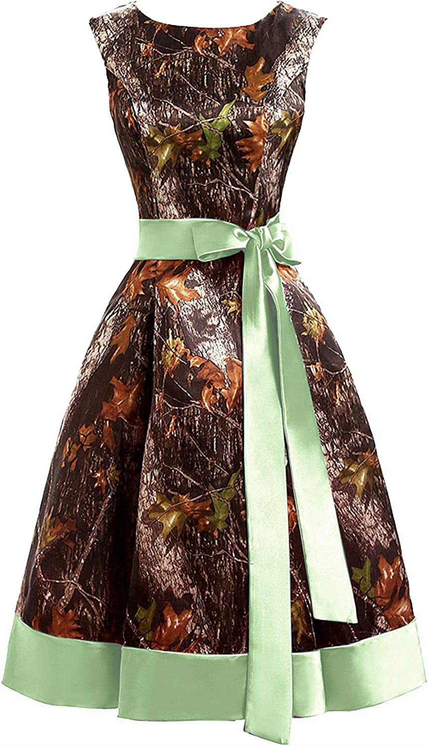 DINGZAN Satin and Camo Mini Cocktail Prom Party Homecoming Dress for Pageant
