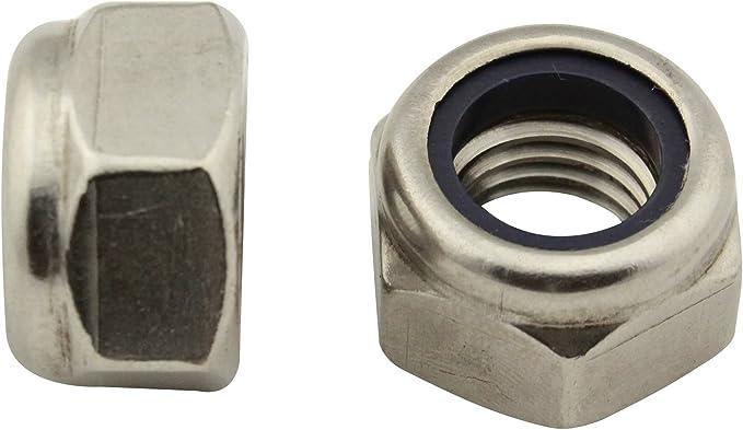 V2A M4 Edelstahl Sicherungs-Mutter 50Stk Sechskantmutter mit Nylon Sicherung nach DIN 985