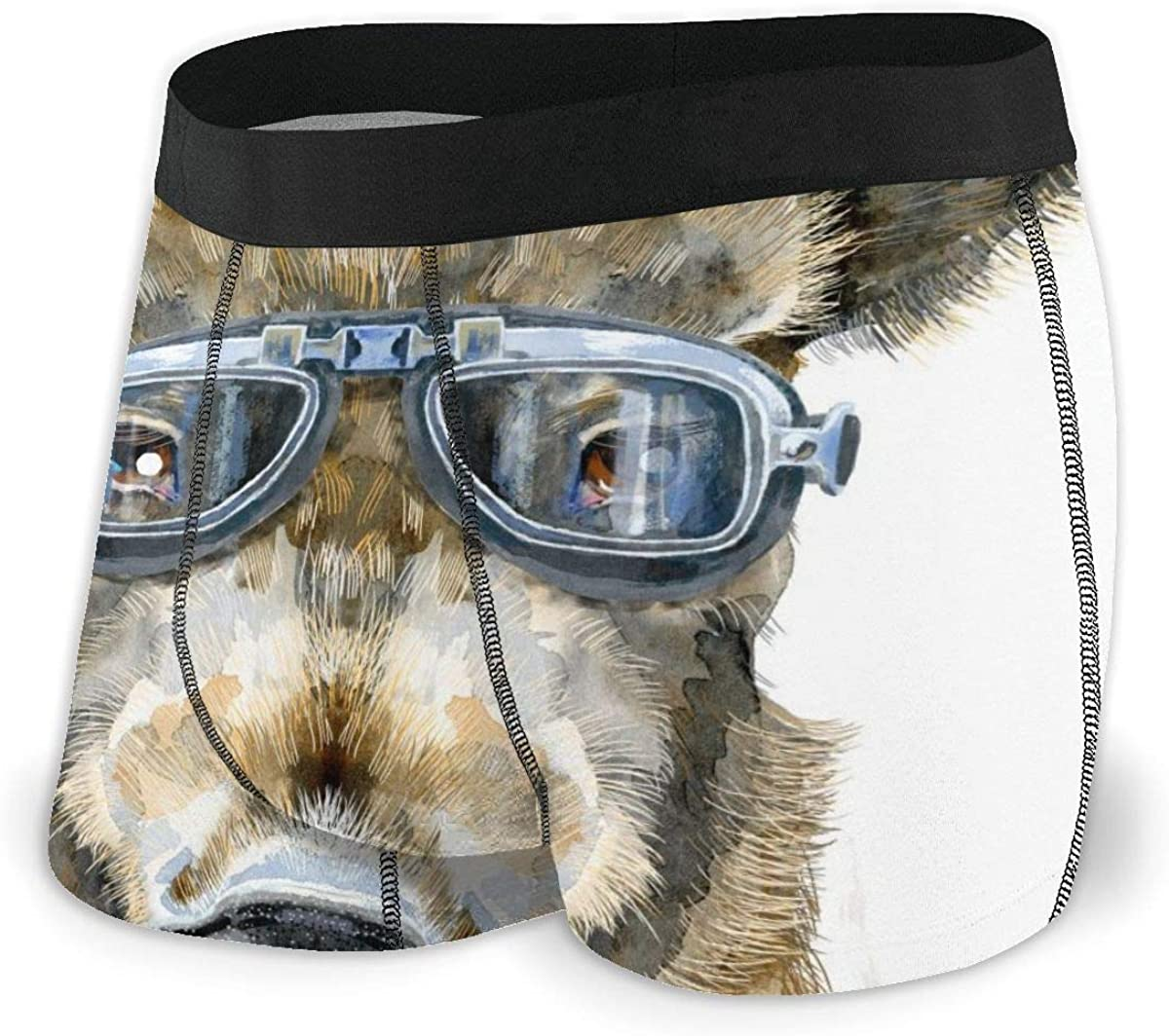 Randolph Wordsworth Mens Boxer Briefs Watercolor Wild Boar with Biker Sunglasses Breathable Underwear