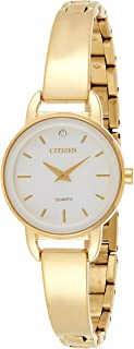 ساعة للنساء بمينا بيضاء وسوار ستانلس ستيل للنساء من سيتيزن - EZ6372-51A