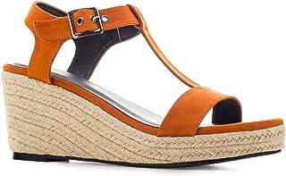 fb986d45dd3651 Chaussures compensées T-Bar en suèdine. pour Femme.