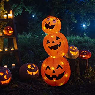 PEIDUO 4Ft Halloween Inflatable Pumpkin Blow up Yard Decorations with 52 Built-in LED Lights for Outdoor Holiday Decoratio...