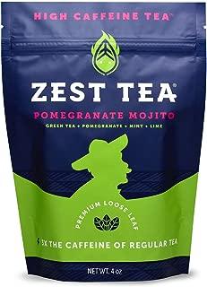 Zest Tea Premium Energy Hot Tea, High Caffeine Blend Natural & Healthy Black Coffee Substitute, Perfect for Keto, 135 mg Caffeine per Serving, Pomegranate Mojito Green Tea, 4 Oz Loose Leaf