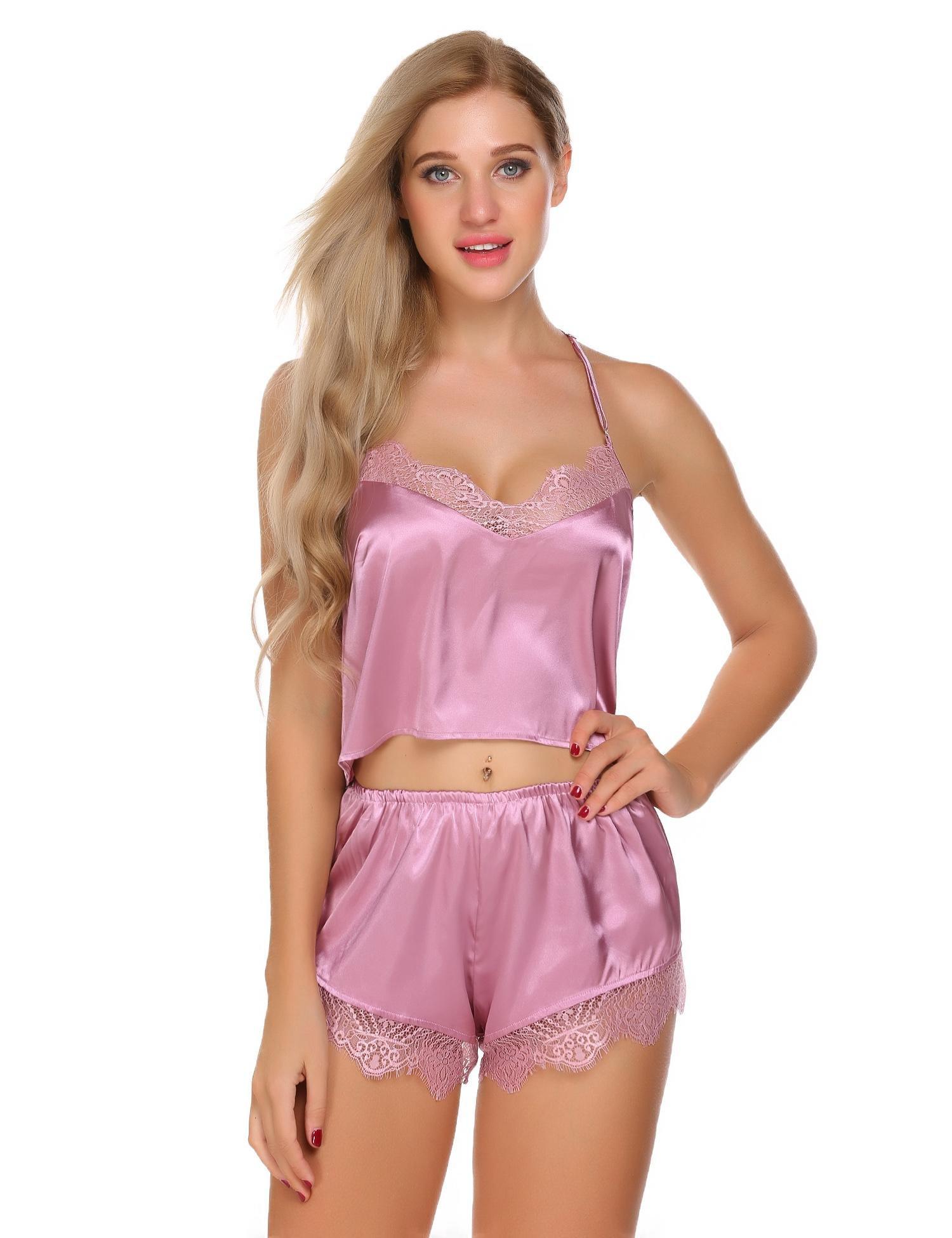 WDDGPZSY Camisa De Dormir/Camisón/Ropa De Dormir/Pijamas/ Backless Pijamas Para Mujer Correas De Raso De Encaje Patchwork Pijamas Ropa De Dormir Conjunto De Pijamas , Rosa, Xxl: Amazon.es: Hogar