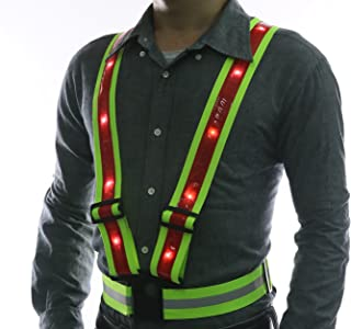 Glowseen LED Reflective Safety Vest-USB Rechargeable- High Visibility with Reflective Stripes for Outdoor Activities Running,Jogging,Cycling,Walking and Working