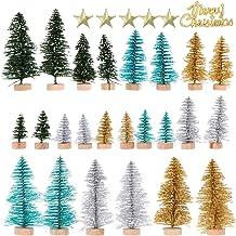 KESYOO 49pcs Mini Pine Trees Sisal Trees Artificial Miniature Christmas Tree with Wood Base Bottle Brush Trees Merry Chris...