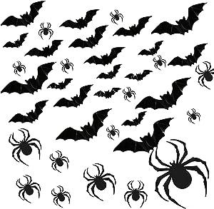 120 PCS Halloween Party Supplies Removable PVC 3D Decoration Realistic Horror Bat Spiders Stickers Wall Decal Wall Sticker, DIY Halloween Decoration Home Interior Window Decoration Set (Balck)
