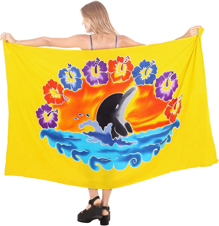 LA LEELA Womens Plus Size Sarong Swimsuit Cover Up Beach Wrap Skirt Hand Paint A
