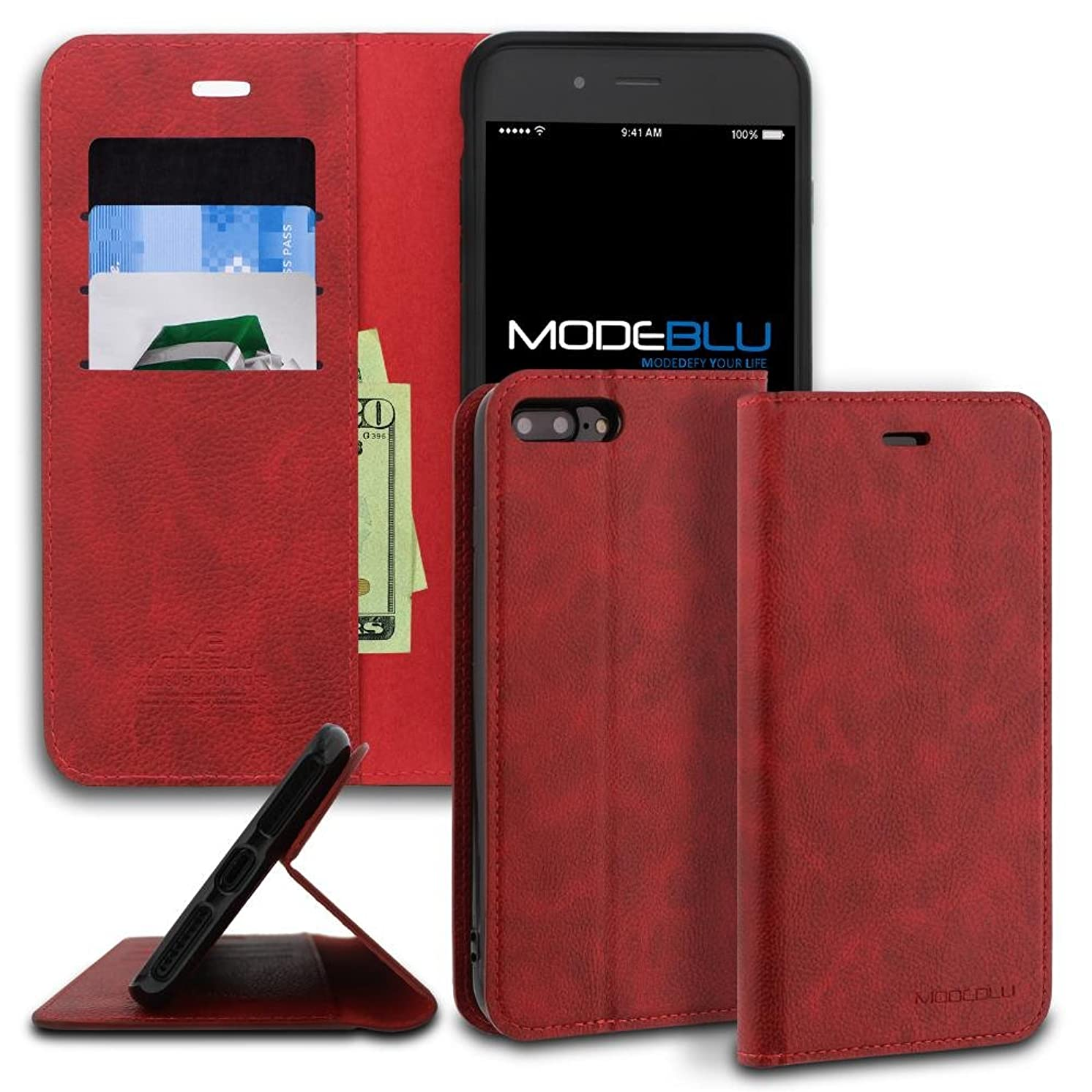 iPhone 8 Plus Case, ModeBlu [Magnetic Portfolio Case Series] [Red] Premium Synthetic Leather [Stand View] for Apple iPhone 8 Plus (2017)