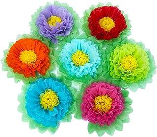 Pompones de papel, flores de papel, color arcoíris, para