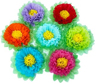 SD SPARKLING DREAM Paper Flowers Paper Pom Poms for Wedding Decor - Birthday Celebration - Wedding Party and Outdoor Decoration - Set of 7 pcs (Rainbow)