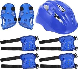 ifundom 7Pcs Kids Bike Helmet Set Skateboard Knee Pads Elbow Pads Adjustable Wrist Guards for Kids Gear Equipment Blue