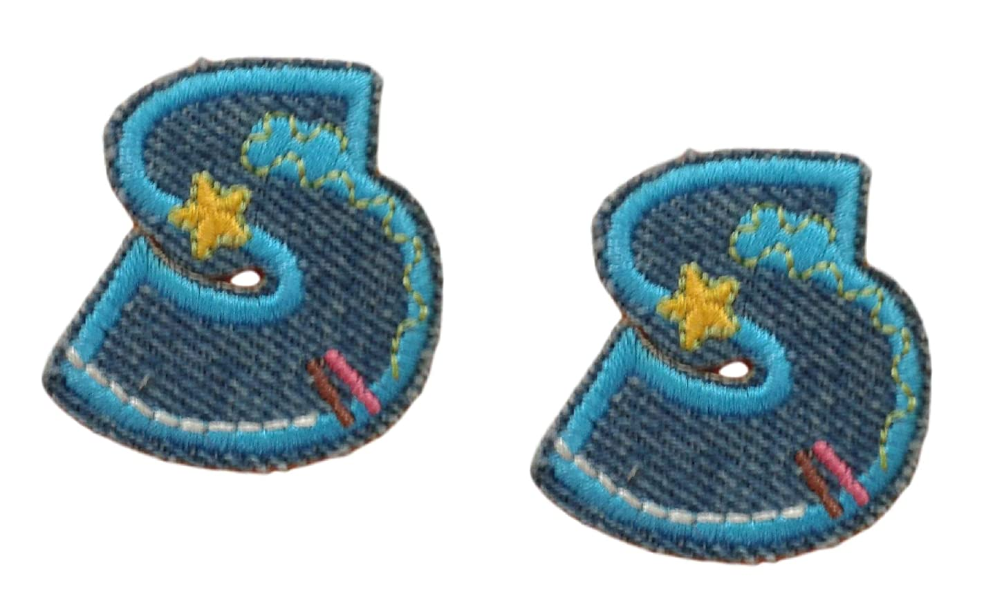 (2) Small Denim Letter S Iron On Patch Applique Motif Alphabet Symbol Scrapbooking Decal 1.4 x 1.4 inches (3.5 x 3.5 cm)