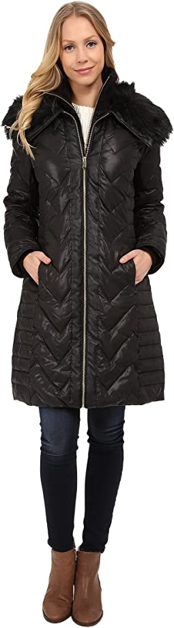 Zip Front Down Coat w/ Contrast Faux Fur On Collar