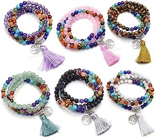 7 Chakra Mala Prayer Beads 108 Meditation Healing Multilayer Bracelet/Necklace W/Tree of Life Tassel Charm