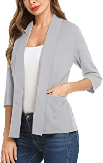 Women's Casual Lightweight Long Sleeve Open Front Work Office Blazer Jacket S-XXL