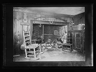 Vintography 8 x 10 Ready to Frame Pro Photo of Colonial-Style Interior with Fireplace and Rocking Chair 1920 Detriot Publishing 49a