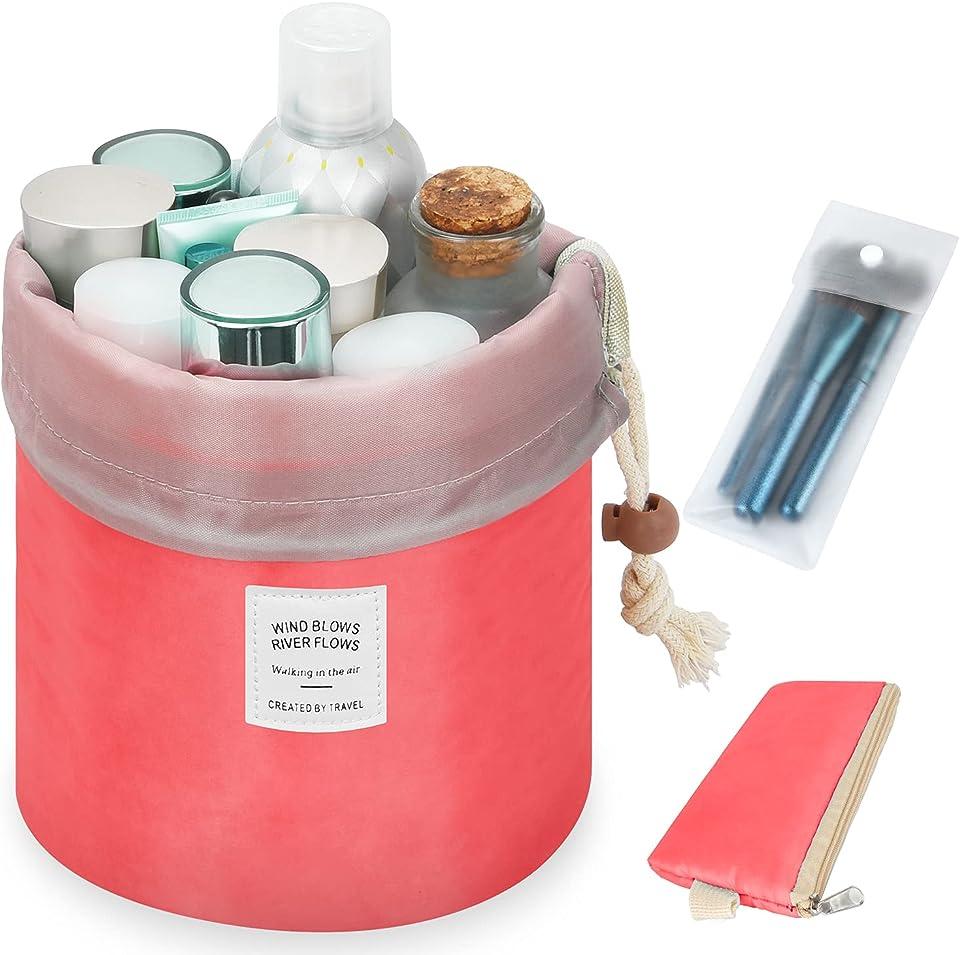 Travel Makeup Bag Barrel Cosmetic Bags for Women Large Bucket Toiletry Bag Storage Pocket Portable Collapsible Drawstring Travel Organizer Bag Makeup Organizer ( Red )