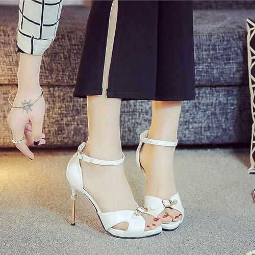 GTVERNH Chaussures pour pour femmes été 10 Cm De Talon Haut Talon Chaussures Métal Boucles Perceuse Creux Des Chaussures Orteils Des Sandales.  venez choisir votre propre style sportif