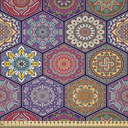 ABAKUHAUS Mandala Tela por Metro, Patrón Hexagonal Arreglo de Cultura Oriental y Flores Antiguas Antigüedad, Microfibra Decorativa para Artes y Manualidades, 1M (230x100cm), Multicolor