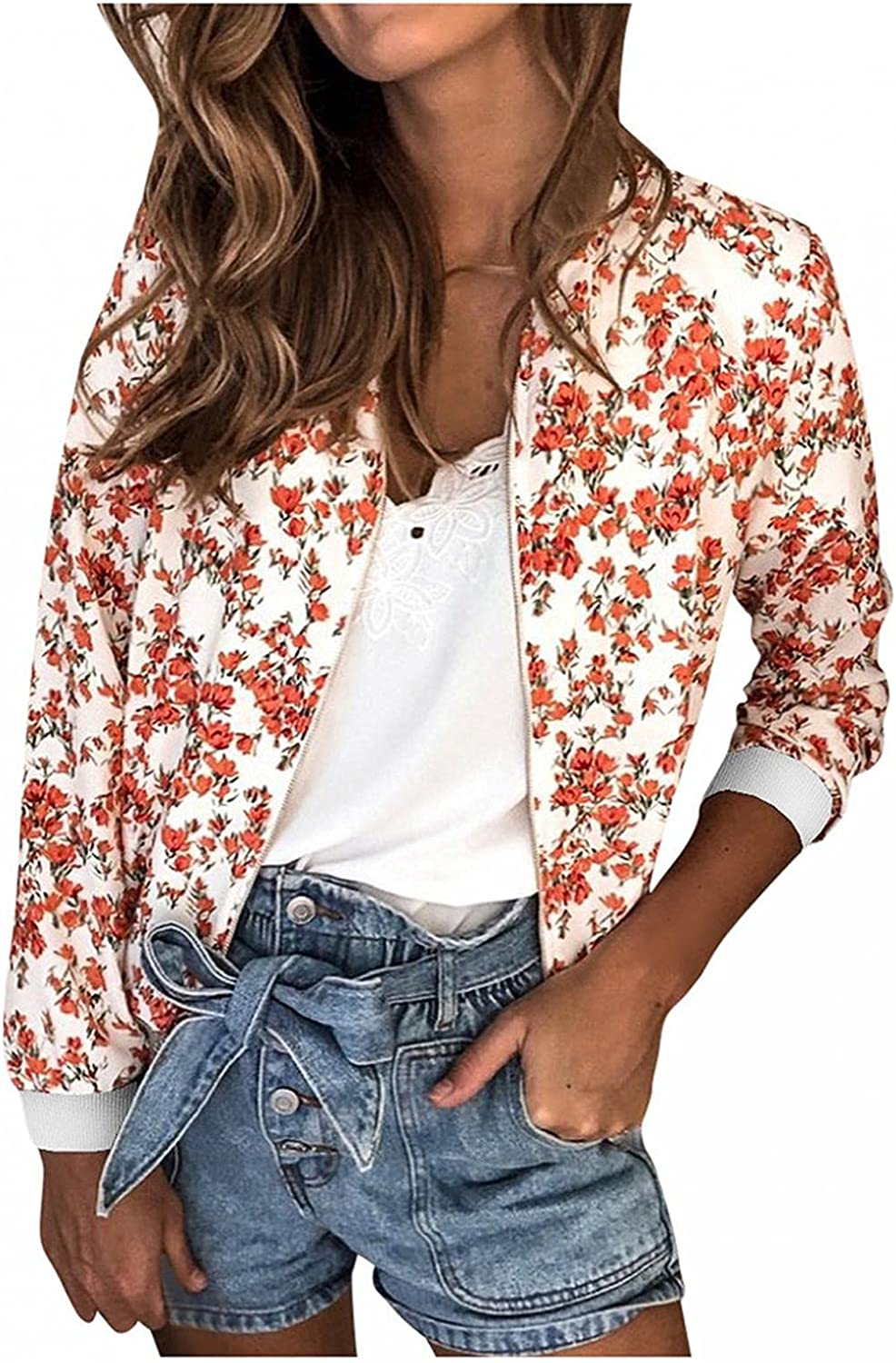 Jackets for Women Retro Floral Print Bomber Jacket Zipper Up Casual O Neck Active Coat Fashion Casual Outwear