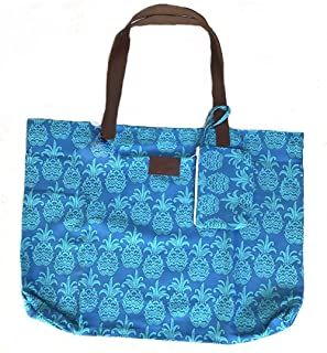 West Indies Wear 100% Cotton Canvas Foldable Beach Bag with Genuine Leather Handles Tote Carryall (Tango Tropical Blue)