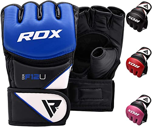 RDX MMA Gloves for Grappling Martial Arts Training, D. Cut Open Palm Maya Hide Leather Sparring Mitts, Perfect for Ca...